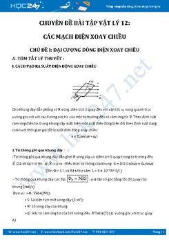 Phân loại bài tập Mạch điện xoay chiều theo dạng có đáp án