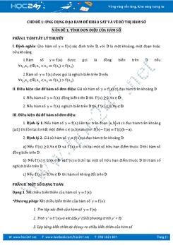 Đề cương ôn thi THPT QG môn Toán chủ đề Ứng dụng đạo hàm để khảo sát và vẽ đồ thị hàm số
