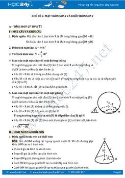 Ôn thi THPT QG môn Toán chủ đề Mặt tròn xoay và khối tròn xoay
