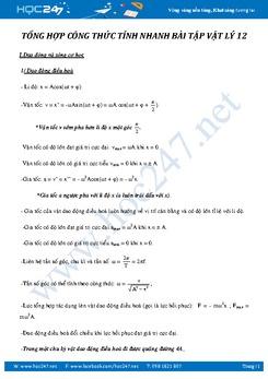 Tổng hợp công thức giải nhanh bài tập trắc nghiệm Vật lý 12