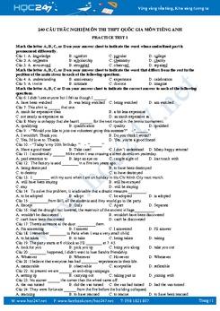 240 câu trắc nghiệm ôn thi THPT Quốc gia môn Tiếng Anh
