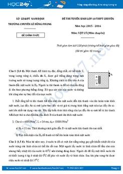 Đề thi tuyển sinh vào lớp 10 Chuyên Lý Lê Hồng Phong- Nam Định năm học 2015-2016 có lời giải