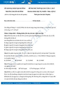 Đề thi thử THPT QG 2017 môn Vật Lý THPT Chuyên  Hà Tĩnh lần 5 có đáp án