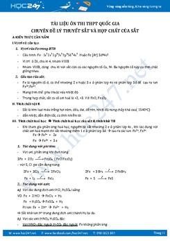 108 Câu trắc nghiệm lý thuyết Sắt và hợp chất của Sắt Hóa học 12 có đáp án