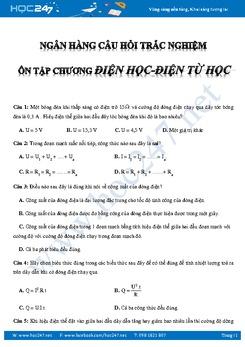 Hệ thống câu hỏi trắc nghiệm chương Điện- Điện Từ Vật lý 9