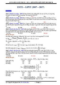 Bài tập Este - Lipit trong đề thi ĐH - CĐ 2007 - 2017 có lời giải