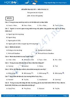 Bộ 5 đề thi học kì 1 môn Tin học lớp 12 có đáp án