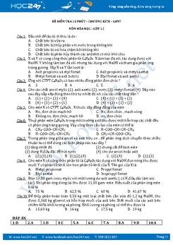 Đề kiểm tra 15 phút Hóa 12 Chương Este - Lipit có đáp án