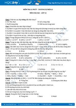 Đề kiểm tra 15 phút Hóa 11 Chương 1 Sự điện li có đáp án