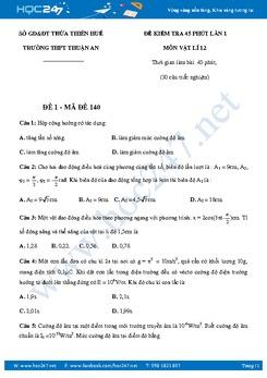 5 đề kiểm tra 45' chương Dao Động Cơ và Sóng Vật lý 12