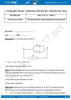 Đề kiểm tra giữa học kì 1 môn Vật lý 11 có đáp án năm 2015-2016