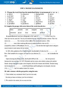 Bài tập bổ trợ Unit 3 Tiếng Anh 10