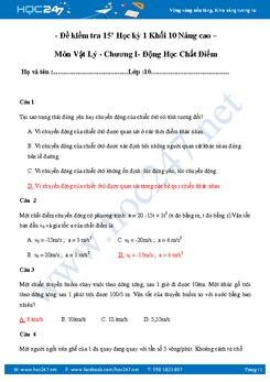Đề kiểm tra 15' chương Động Học Chất Điểm Vật Lý 10 NC