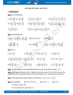 Bài tập ôn tập hè môn Toán lớp 7
