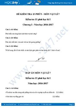 Đề kiểm tra 15 phút Chương 1 môn Vật Lý 7 năm 2016-2017