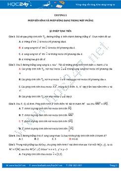 85 câu Trắc nghiệm Phép dời hình và Phép đồng dạng trong mặt phẳng có đáp án
