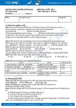 2 Đề kiểm tra Hóa 9 Chương Các loại hợp chất vô cơ có lời giải