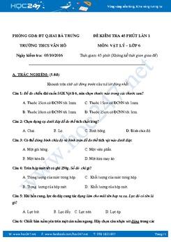 Đề kiểm tra 45' môn Vật Lý 6 giữa HK1 có đáp án