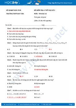 Đề kiểm tra 1 tiết học kì 1 môn Tin học lớp 10 có đáp án năm 2017 - Trường THPT Duy Tân