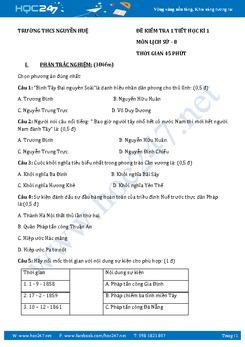 Đề kiểm tra 1 tiết HK1 môn Sử 8 - Trường THCS Nguyễn Huệ