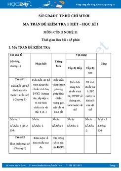 Đề kiểm tra 1 tiết HKI môn Công Nghệ 11 -Sở GD-ĐT TP.HCM