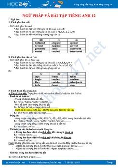 Ngữ pháp và bài tập tiếng Anh lớp 12