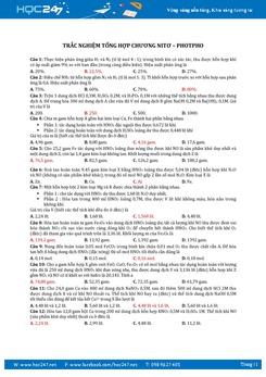222 Câu trắc nghiệm Hóa 11 Chương 2 Nitơ - Photpho có đáp án