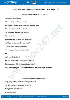 Tuyển tập hội thoại giao tiếp tiếng Anh hàng ngày Phần 3