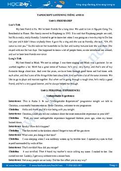 Nội dung bài nghe - Tapescript Listening Tiếng Anh 11