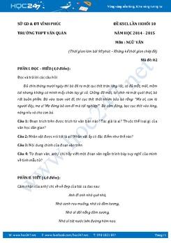 Đề kiểm tra KSCL Ngữ Văn lớp 10 trường THPT Văn Quán