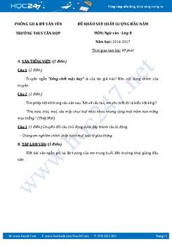 Đề kiểm tra KSCL đầu năm Ngữ Văn lớp 8 trường THCS Tân Hợp