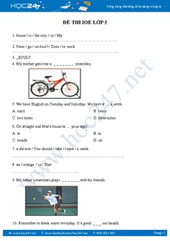 Đề tham khảo thi IOE Tiếng Anh Lớp 5