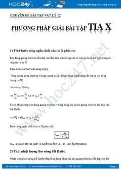 Phương pháp giải bài tập tia X Vật Lý 12