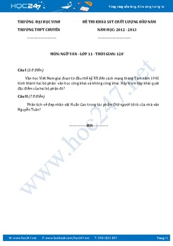 Đề kiểm tra KSCL đầu năm Ngữ văn 11 THPT Chuyên đại học Vinh
