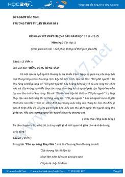 Đề kiểm tra KSCL đầu năm Ngữ văn lớp 11 trường THPT Thuận Thành số 1