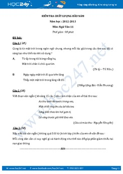 Đề kiểm tra KSCL đầu năm môn Ngữ văn lớp 11 đề số 1