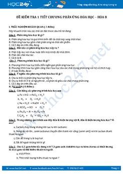 Đề kiểm tra Hóa 8 Chương 2 Phản ứng hóa học có giải chi tiết