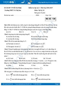 Đề thi và đáp án Vật lý 12 HKI  trường THPT Võ Thị Sáu