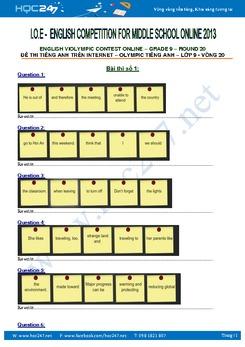 Đề thi Violympic tiếng Anh lớp 9 vòng 20