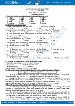 Đề thi chất lượng học kì 1 tiếng Anh 7 thí điểm