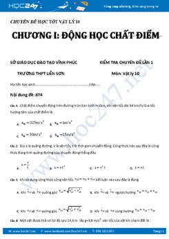 Đề kiểm tra chương Động Học Chất Điểm Vật Lý 10 có đáp án