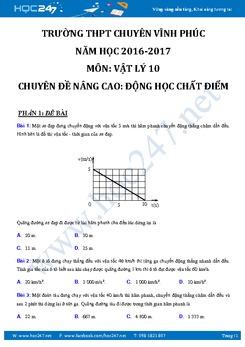 Bài tập Động Học Chất Điểm Vật lý 10 nâng cao có đáp án
