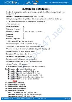 Lý thuyết cơ bản mệnh đề nhượng bộ trong tiếng Anh