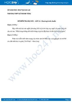 Đề kiểm tra học kì 1 Ngữ văn lớp 11 trường THPT Lê Thánh Tông