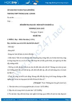 Đề kiểm tra học kì 1 Ngữ văn lớp 11 trường THPT Thăng Long