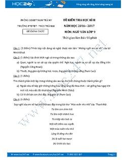 Đề thi học kì 2 môn Ngữ Văn lớp 9 năm 2016 - 2017 trường PTDTBT - THCS Trà Mai