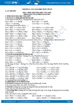 Lý thuyết và bài tập Hóa 9 Chương 1 Các loại hợp chất vô cơ