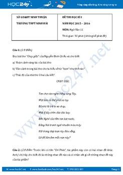 Đề kiểm tra học kì 1 Ngữ văn 11 Trường THPT Ninh Hải