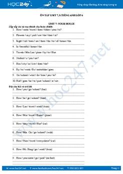 Bài tập củng cố Unit 7, 8 Tiếng Anh lớp 6
