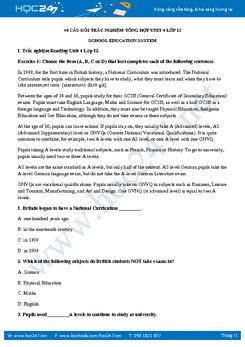 40 câu Trắc nghiệm Unit 4 Lớp 12 có đáp án
